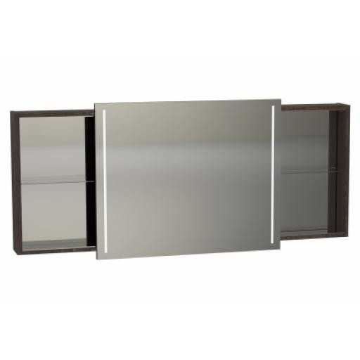 Vitra Memoria Illuminated Mirror Cabinet, with Sliding Door, 150 cm, Chestnut