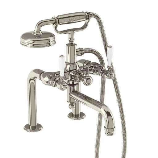 Burlington Arcade Bath shower mixer deck-mounted - nickel with ceramic lever