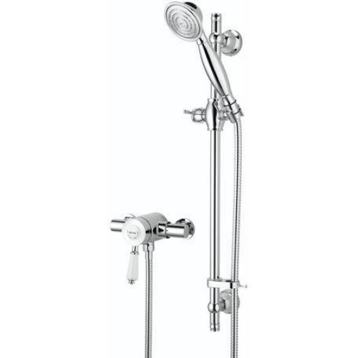 Bristan Colonial Thermostatic Exposed Single Control Mini Valve With Adjustable Riser Kit And Single Function Handset