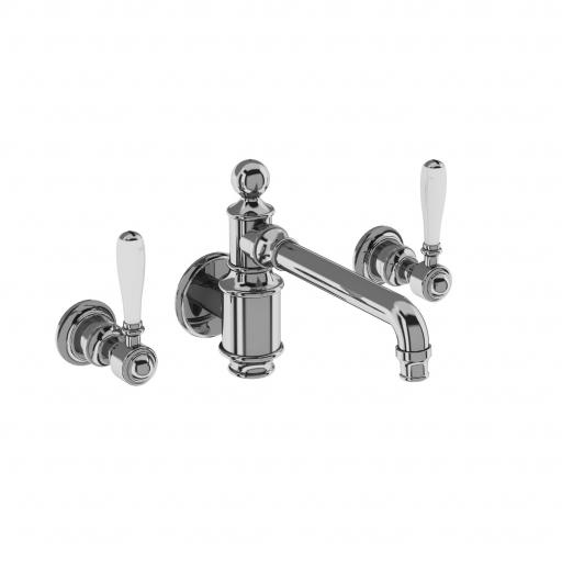 Burlington Arcade Three hole basin mixer wall-mounted without pop up waste - chrome - with ceramic lever