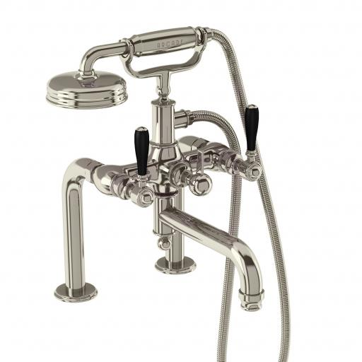 Burlington Arcade Bath shower mixer deck-mounted - nickel with black lever