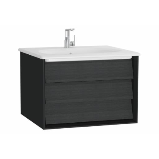 Vitra Frame Washbasin Unit, with 1 drawer, 60 cm, with white washbasin, Matte Black