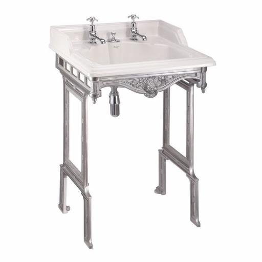 Burlington Classic 65cm basin with invisible overflow and brushed aluminium basin stand