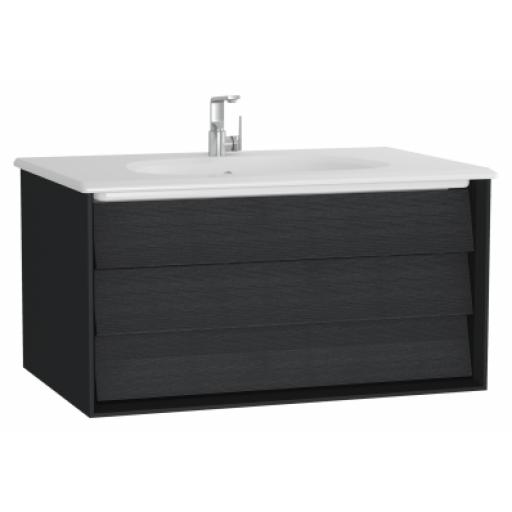 Vitra Frame Washbasin Unit, with 1 drawer, 80 cm, with white washbasin, Matte Black