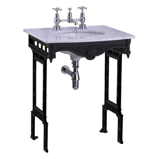 Burlington Carrara marble top & basin with black aluminium washstand (shown without back and side splash)