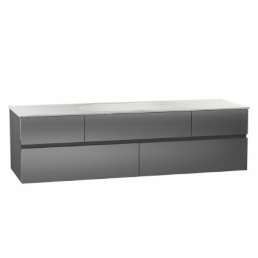Vitra Memoria Washbasin Unit, Including Ceramic Washbasin, 150 cm, Metallic Grey