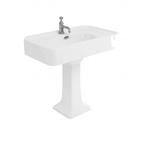 Burlington Arcade 900mm basin with chrome overflow & pedestal