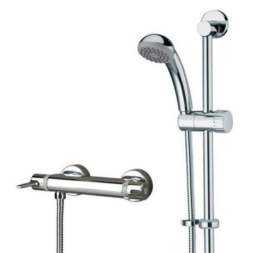 Bristan Design Utility Thermostatic Exposed Bar Shower With Adjustable Riser Kit, Single Function Handset And Fast Fit Connections