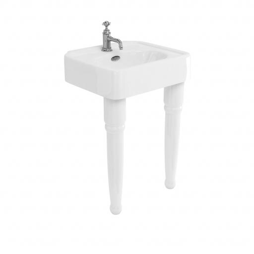 Burlington Arcade 600mm basin with chrome overflow & ceramic console legs