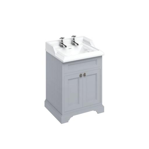 Burlington Freestanding 65 Vanity Unit with doors - Classic Grey and Classic basin 2 tap holes