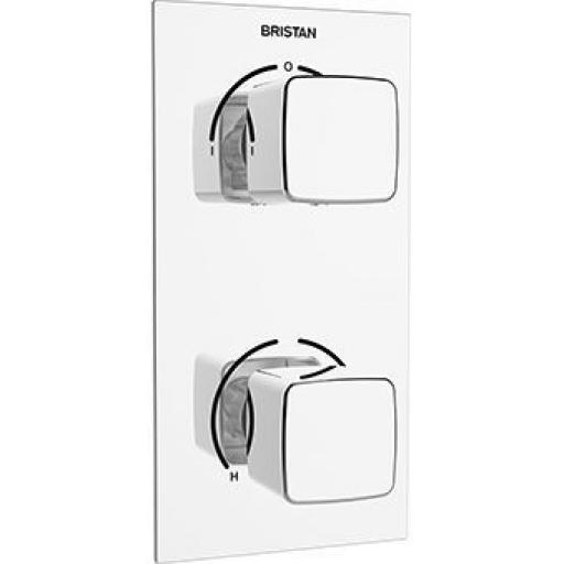 Bristan Cobalt Thermostatic Recessed Dual Control Valve With Integral Two Outlet Diverter