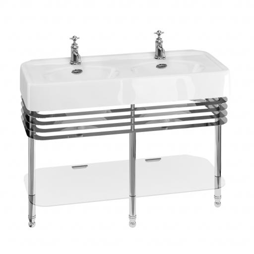 Burlington Arcade 1200mm basin with chrome overflow & basin stand with double basin & overflows