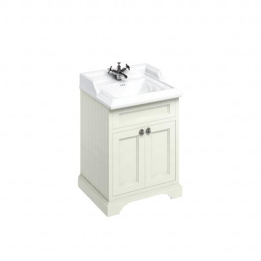 Burlington Freestanding 65 Vanity Unit with doors - Sand and Classic basin 1 tap hole