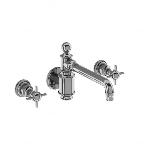 Burlington Arcade Three hole basin mixer wall-mounted without pop up waste - chrome - with tap handle