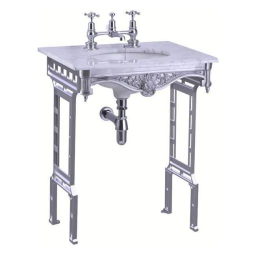 Burlington Carrara marble top & basin with brushed aluminium washstand (shown without back and side splash)2TH