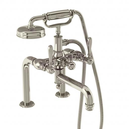 Burlington Arcade Bath shower mixer deck-mounted - nickel with brass lever