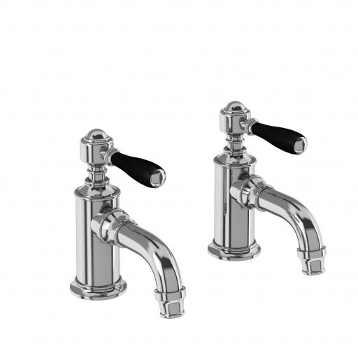 Burlington Arcade Cloakroom basin pillar taps - chrome - with black lever