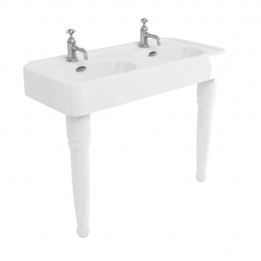 Burlington Arcade 1200mm basin with chrome overflow & ceramic console legs