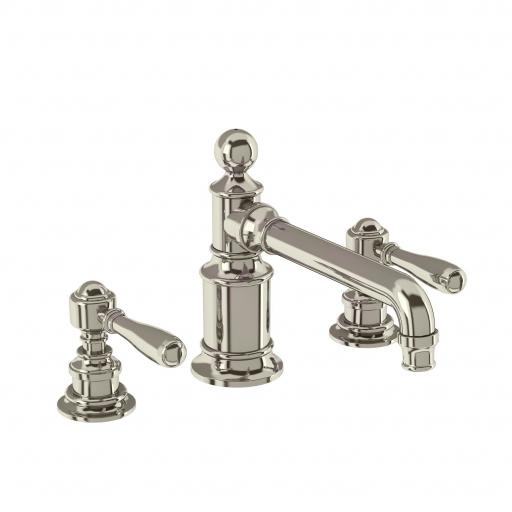 Burlington Arcade Three hole basin mixer deck-mounted without pop up waste - nickel - with brass lever