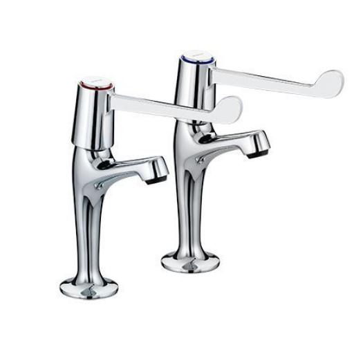 "Bristan Lever High Neck Pillar Taps With 6"" Levers"