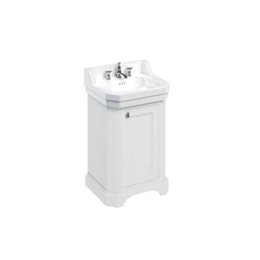 Burlington Edwardian 560mm basin and free-standing rectangular cloakroom vanity unit - Matt White