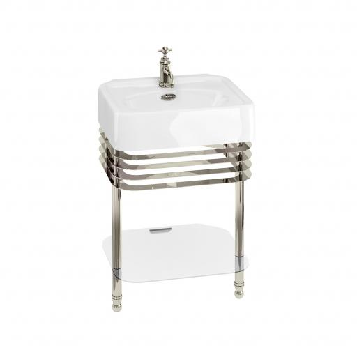 Burlington Arcade 600mm basin with nickel overflow & basin stand