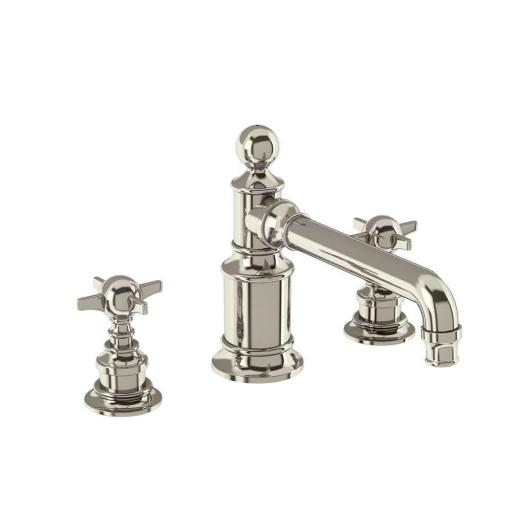 Burlington Arcade Three hole basin mixer deck-mounted without pop up waste - nickel - with tap handle