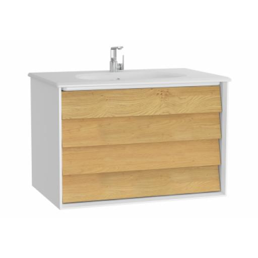 Vitra Frame Washbasin Unit, with 2 drawers, 80 cm, with white washbasin, Matte White