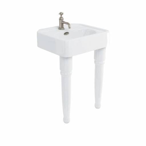 Burlington Arcade 600mm basin with nickel overflow & ceramic console legs