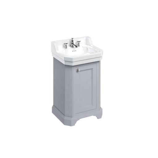 Burlington Edwardian 560mm basin and free-standing rectangular cloakroom vanity unit - Classic Grey