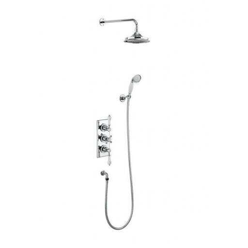 Burlington Trent Thermostatic Two Outlet Concealed Shower Valve , Fixed Shower Arm, Handset & Holder with Hose with 9 inch rose