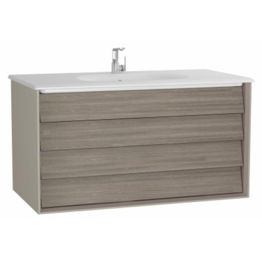Vitra Frame Washbasin Unit, with 2 drawers, 100 cm, with white washbasin, Matte Taupe