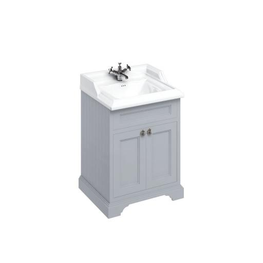 Burlington Freestanding 65 Vanity Unit with doors - Classic Grey and Classic basin 1 tap hole