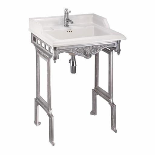 Burlington Classic 65cm basin and brushed aluminium basin stand (1TH)