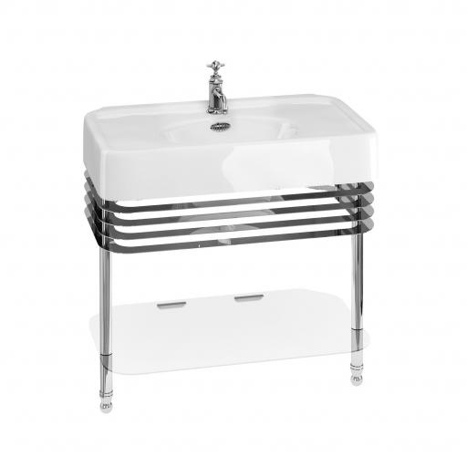 Burlington Arcade 900mm basin with chrome overflow & basin stand