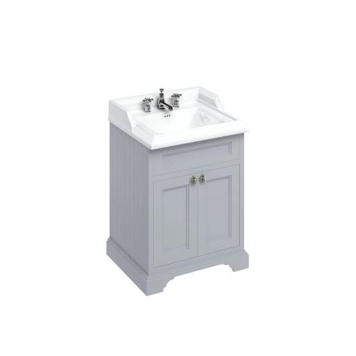Burlington Freestanding 65 Vanity Unit with doors - Classic Grey and Classic basin 3 tap holes