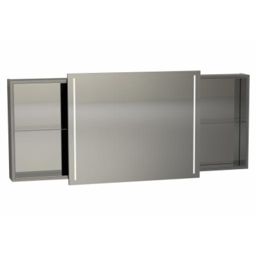 Vitra Memoria Illuminated Mirror Cabinet, with Sliding Door, 150 cm, Grey High Gloss