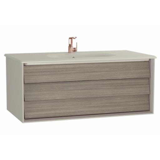 Vitra Frame Washbasin Unit, with 1 drawer, 100 cm, with taupe washbasin, Matte Taupe