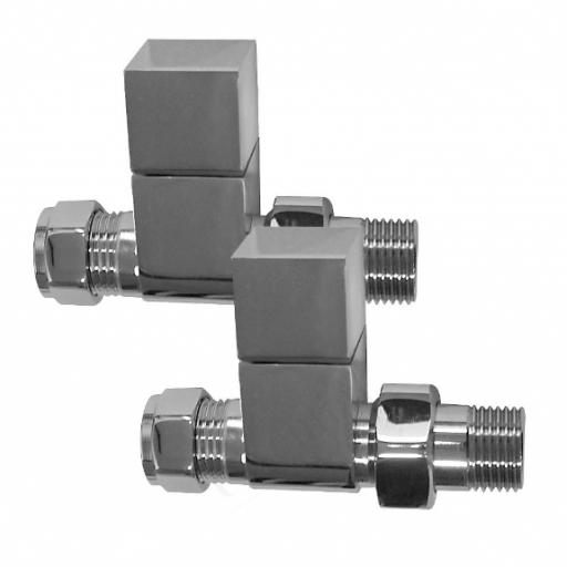 Chrome 15mm Square Straight Radiator Valves