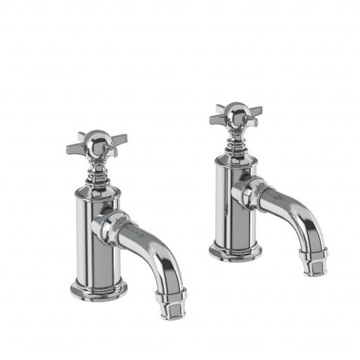 Burlington Arcade Cloakroom basin pillar taps - chrome - with tap handle