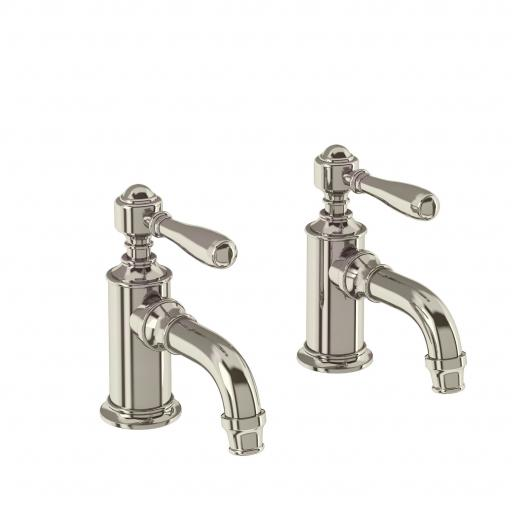 Burlington Arcade Cloakroom basin pillar taps - nickel - with brass lever