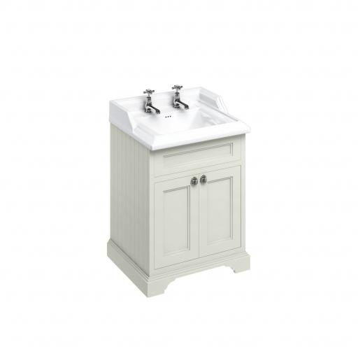 Burlington Freestanding 65 Vanity Unit with doors - Sand and Classic basin 2 tap holes