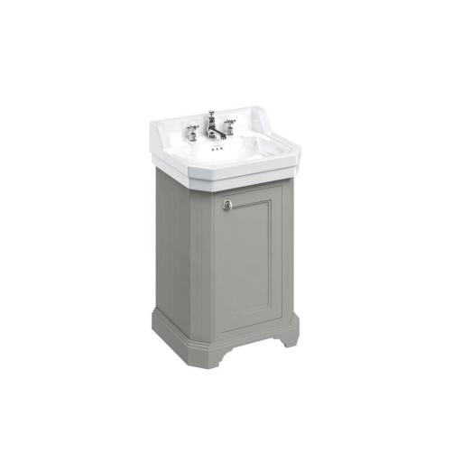 Burlington Edwardian 560mm basin and free-standing rectangular cloakroom vanity unit - Dark Olive