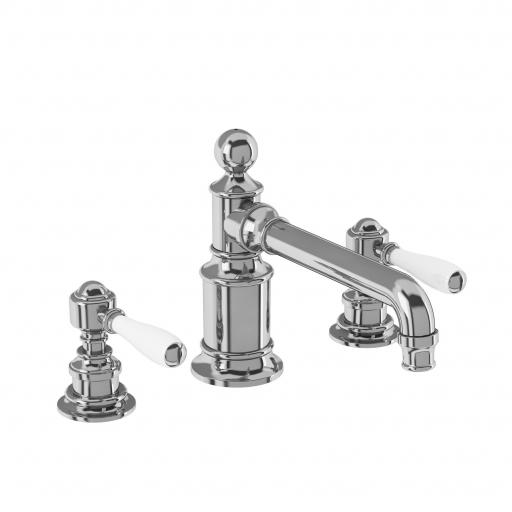 Burlington Arcade Three hole basin mixer deck-mounted without pop up waste - chrome - with ceramic lever