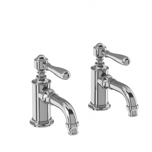 Burlington Arcade Cloakroom basin pillar taps - chrome - with brass lever