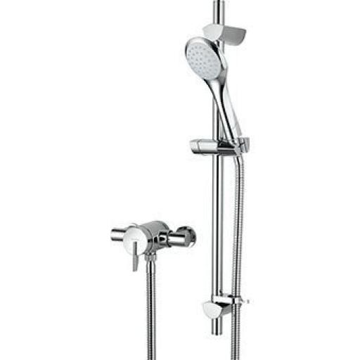 Bristan Sonique Thermostatic Exposed Single Control Mini Valve Shower With Adjustable Riser Kit And Single Function Handset