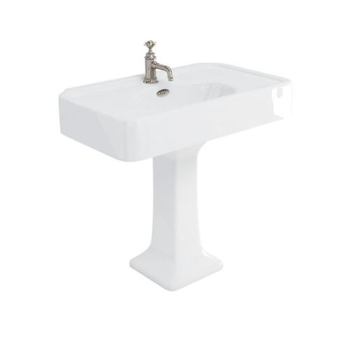 Burlington Arcade 900mm basin with nickel overflow & pedestal