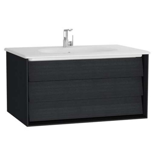 Vitra Frame Washbasin Unit, with 2 drawers, 80 cm, with white washbasin, Matte Taupe